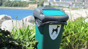 A dog poo bin at Porthcressa beach