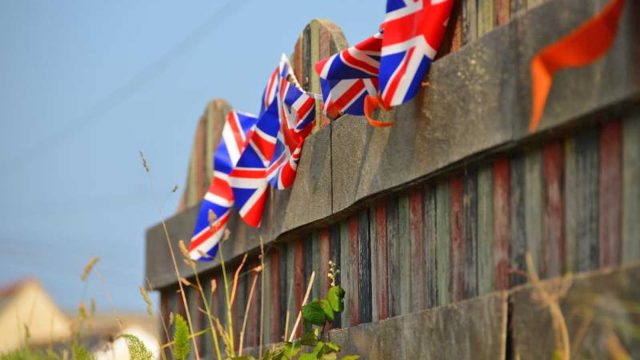 flags on fence