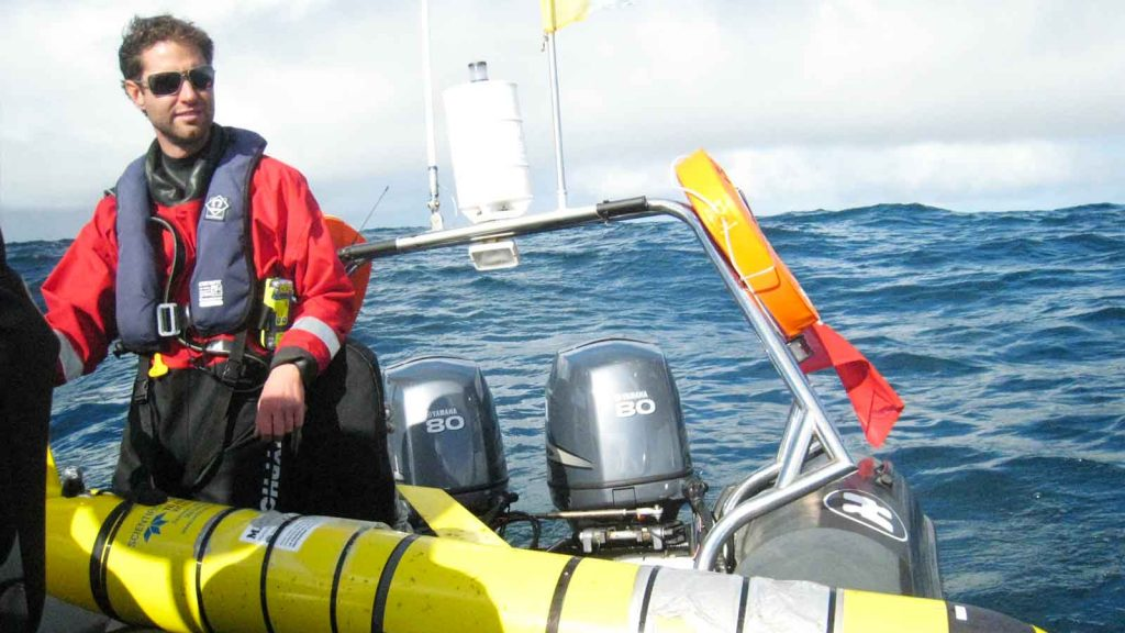 IFCA Officer Doug Holt helps to release the glider that was found on Bryher