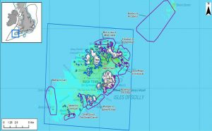 The 11 areas (purple) included in Scilly's Marine Conservation Zone.
