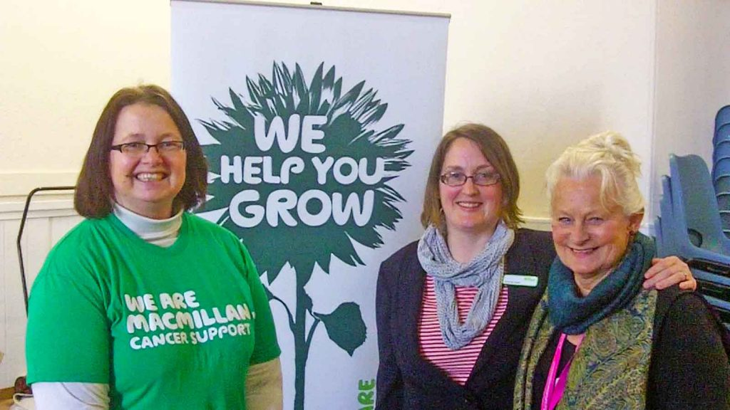 Advisors at yesterday's Macmillan Cancer Support Event. (L to R) Amanda Nadin and Emma Wright from Macmillan, with Anna Burton, Chair of the Cancer Patient and Carer Group.