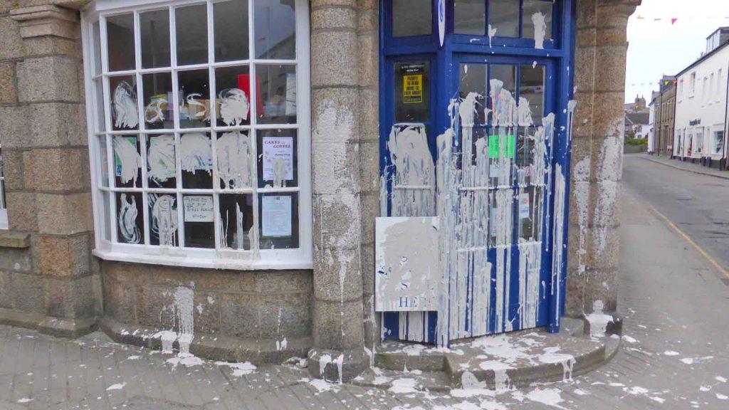 paper shop vandalism