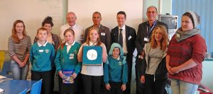 Ellie and Janna (far left) and Charlotte and Ben (far right) with winning team 'Inside Out'. Back row (L-R): Steve Aldridge - Natwest Bank, Devin Dyson Botes - Happy Energy, Mike Hobbs -  Natwest Bank, Julian Cowans - Superfast Cornwall. Photo with thanks from Cornwall Learning Education Business Partnership.