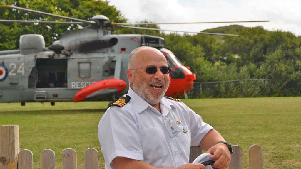 Commander Tom Herman at the Five Islands School yesterday
