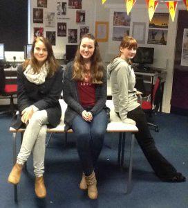 Truro College Language Ambassadors Nathalie Lloyd-Cope, Dani Jeffries and Lysette Turner.