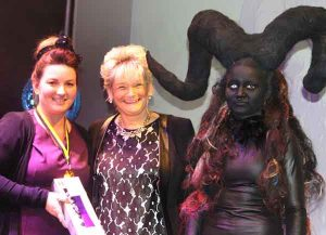 Cheryl Maddern (left), winner of the Best Total Look and Hair Level 3 Avant Garde, with Cheryl Mewton of Truro and Penwith College, and model Ruby Hawkes.