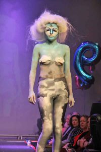 'Cloud 9' - the work of Coral Parsons, silver medallist in the Level 3 Media Make-up category, modelled by Giorgia Cook.