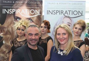 Celebrity Stylist Andrew Barton with Truro College's Hayley McKinstry and models showcasing his work.