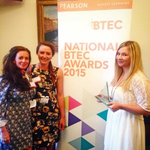 Stephanie Trembath (right) with her award, together with lecturer Heather Metcalfe (left) and personal tutor Katie Maggs.
