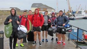 Some of the Cornish Pirates players arriving yesterday.