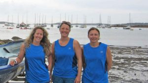 Three of the rowers, Paula Bright, Ruth Creamer and Tina Pascoe.