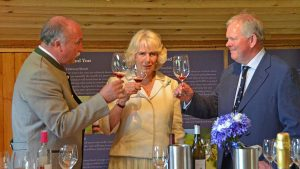 The Duchess enjoys a glass of Holy Vale wine.