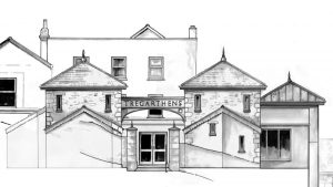 Plans for the Garrison Hill entrance. Copyright of Scott & Company Architects.