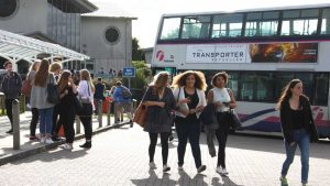 New students arriving at Truro College on their first day.