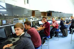 Electronics students studying in the new bespoke Electronics room at Truro College.