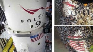 The Falcon-9 launcher (left) and markings on the debris found off Tresco (right).