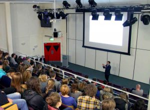 BBC's Ros Atkins talking to students at Truro College.