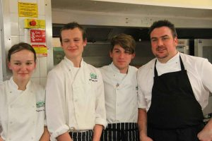 Student chefs Courtney Penaluna, Adam Ingleby-Oddy and Jay Jose with Christopher Archambault - Executive Head Chef at Headland Hotel
