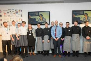 The Hospitality team at the event with Truro and Penwith College staff Tony Duce, Claire Frearson and Mark Lewin.