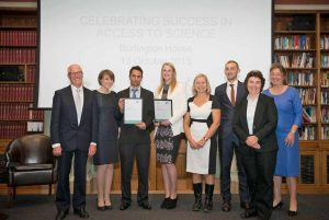 Left to right: Sir John Holman CChem FRSC (President –elect of the RSC), Laura Pamplin with partner Samuel Powell (award winner), Lauren Barry (award winner), Carla Beck (Truro College project coordinator), partner of Lauren Barry, Dr Hilary Jeffreys CSci CChem FRSC (Chair of the RCS's Admissions). Photo with thanks to Gatsby Foundation/Stuart Boreham.