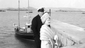 The Soleil d'Or in the background during the Queen Mother's visit to Tresco