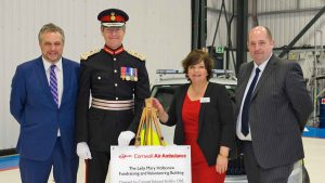 From left: Steve Double MP, Colonel Edward Bolitho OBE, Paula Martin (chief executive of Cornwall Air Ambulance Trust) and Clive Dickin (national director of the Association of Air Ambulances)