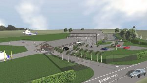 Artists's impression of new heliport on Jelbert Way, Penzance